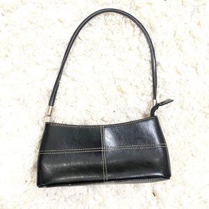 Vintage black leather shoulder mini bag